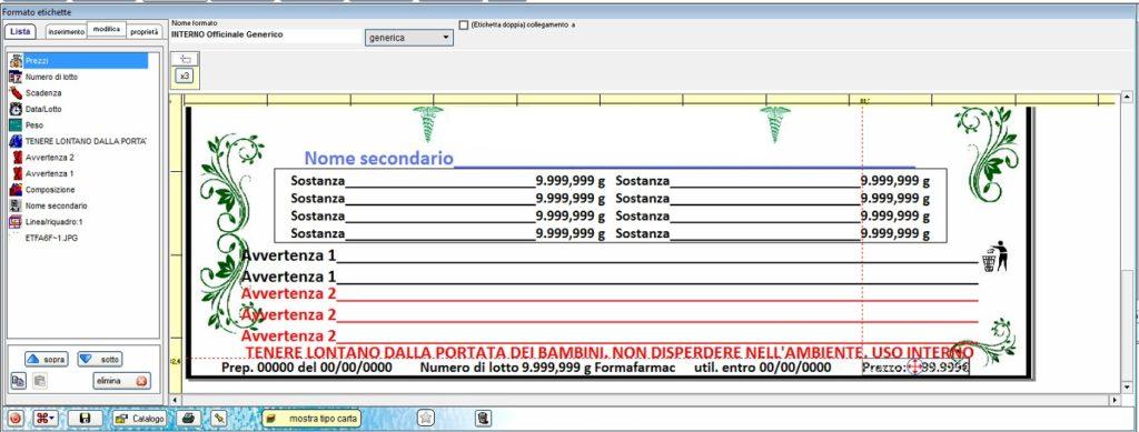 h2o professional software laboratorio galenico etichetta