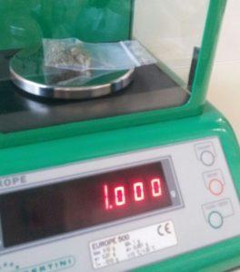 Nella foto: 1 grammo di Cannabis Sativa Bedrocan 22%