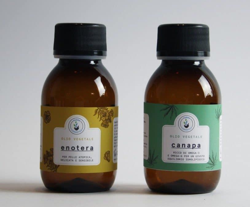 Olio di canapa, olio di enotera per pelli sofferenti